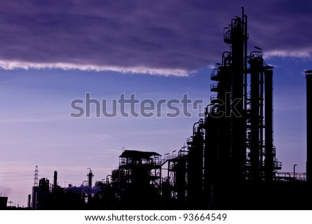 petrochemical plant of silhouette