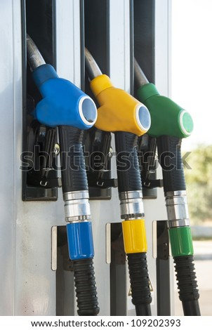 petrol pump, blue, yellow and green colors