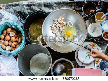 Colored thai food floating market street stock photo for White river fish market menu