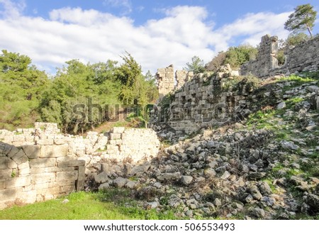 Phaselis ancient Greek and Roman city on the coast of Lycia near Kemer and Tekirova in Turkey. Asia Minor