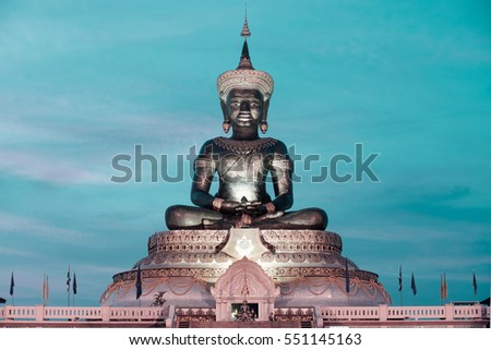 PHETCHABUN,THAILAND-MAY 2,2015 : Abstract color of Phra Phuttha Maha Thammaracha Chaleum Phrakiat is a large ,Impressive and important statue of the Buddha, Phetchabun Province in Northern of Thailand