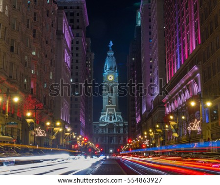 Philadelphia Avenue of the Arts and City Hall