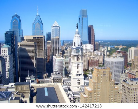 Philadelphia skyscrapers on a beautiful day