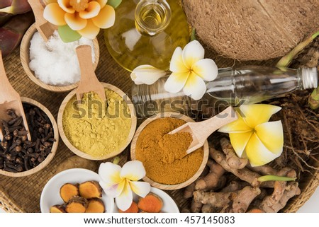 Phlai, Cassumunar ginger, Bengal root Oil (composition comprising Phlai. , Turmeric, Clove, Camphor, and coconut oil).