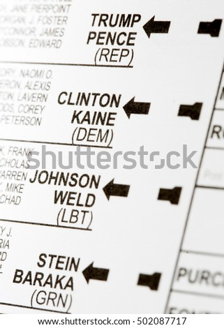 PHOENIX, AZ - OCTOBER 21, 2016: Close up of the presidential candidates on the 2016 USA general election early voting ballot including Donald Trump, Hillary Clinton, Gary Johnson and Jill Stein