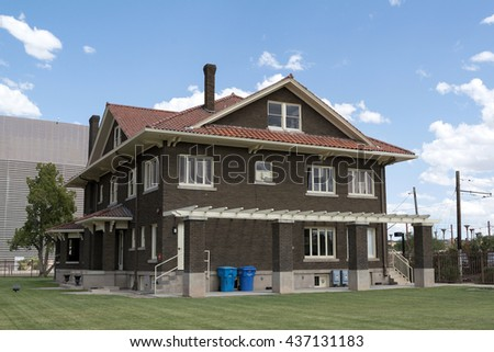 front yellow house blue sky stock photo 57140407 shutterstock. Black Bedroom Furniture Sets. Home Design Ideas