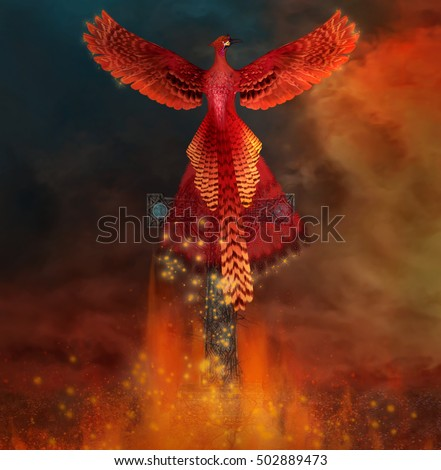 Phoenix on a cross comes back alive from a flame - 3D illustration