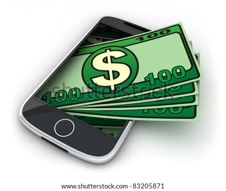 Phone and money on white background (done in 3d)