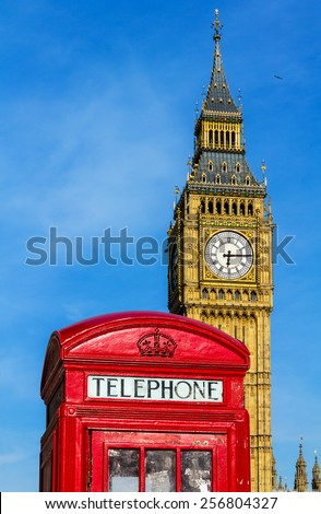 Phone booth in front of Big Ben
