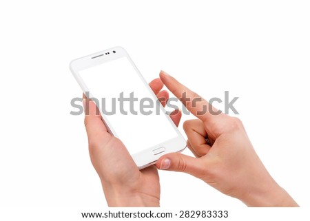 Phone in hand - to work on a smartphone with a blank screen