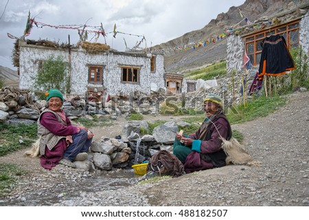 Photaksar. India,  August 26-2016: Unidentified Indian women Photaksar village Zanskar, Ladakh, Indian Himalayas, Jammu and Kashmir, northern India, India, Asia