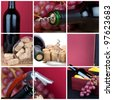 Photo collage of grapes and wine cutlery - stock photo