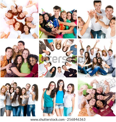 Photo collage of happy people, friends, fun, holiday, good mood