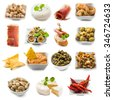 photo collage of spanish tapas  isolated on white background - stock photo