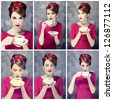 Photo collage - redhead girl with coffee cup. St. Valentine Day. - stock photo