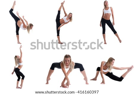 Photo collection of pretty girl engaged in pilates