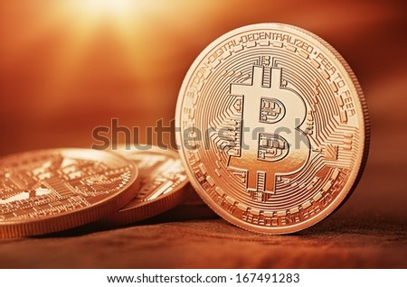 Photo Golden Bitcoins (new virtual money )