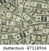 Photo-Illustration of large denomination U.S Currency. I illustrated and used parts from lower denomination bills and old U.S, postage stamps to recreate the $1000, $100,000, and the $1,000,000 bills. - stock photo