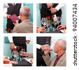 Photo montage showing a mature man ordering and tasting wine from a sommelier in a restaurant. - stock photo