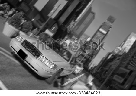 photo new york city times square, taxi motion blur