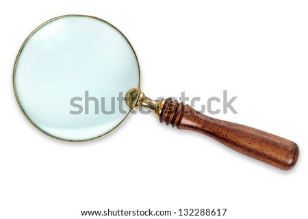 Photo of a Brass Magnifying Glass with wooden handle, isolated on white background with clipping path for both the outline and internal glass area.