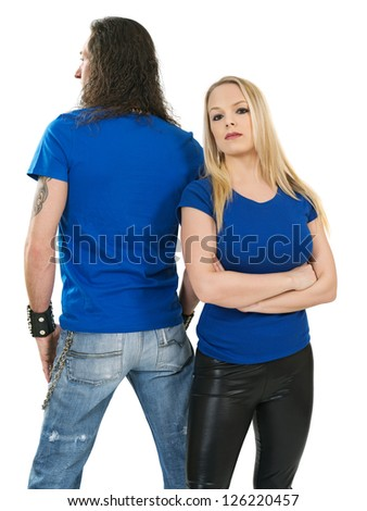 Photo of a man and woman posing with blank blue shirts. Male is facing backwards so a custom shirt design can be shown on front and back.