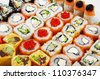 Photo of a rolled and sushi - stock photo