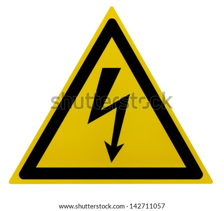 photo of a yellow high voltage warning sign isolated on white