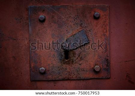 Photo of an old metal armored keyhole in a metal door & Old Rusty Doorbell Stock Photo 3092981 - Shutterstock