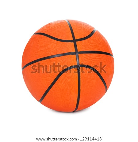 Photo of basketball ball. Isolated on white