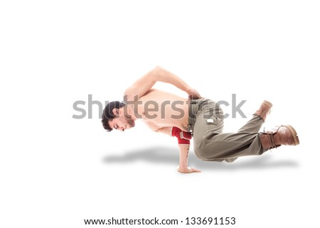 photo of dancer with naked chest dancing over isolated background