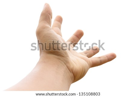 Photo of empty open man hand on white background