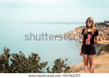 Photo of Girl and Oceanview from California Coast, United States