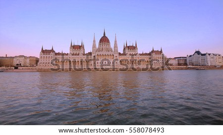 Photo of Hungarian Parliament Building at dusk, Budapest, Hungary