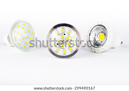 Photo of led bulbs on white background