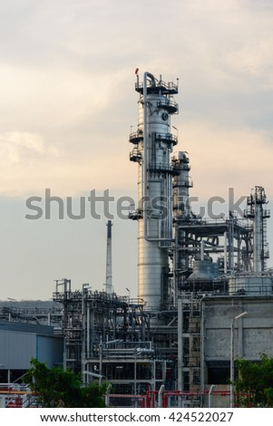 Photo of Oil Refinery factory at evening.
