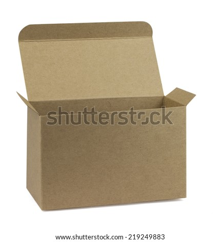 photo of open cardboard box isolated on white
