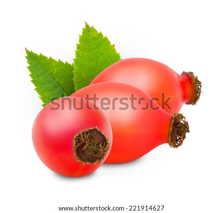 Photo of rose hip with slice isolated on white
