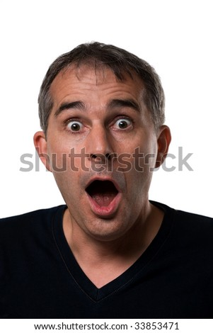 Photo of surprised man on white background