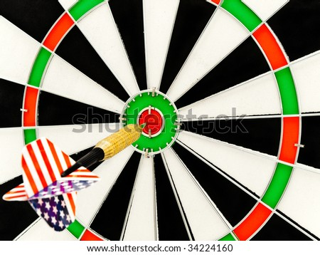 photo of the darts arrow go exactly on target