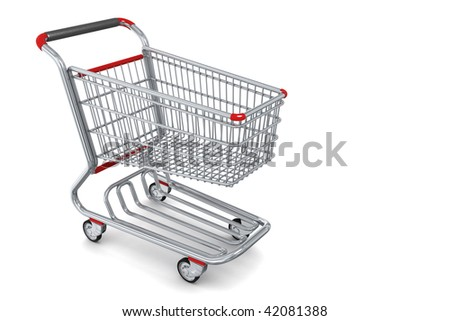 Photo-realistic Shopping cart isolated
