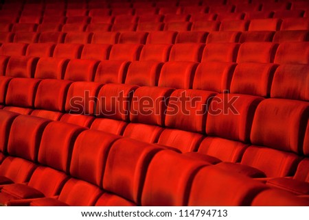 photo with red armchairs rows