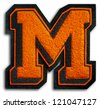 Photograph of School Sports Letter - Black and Orange M - stock photo