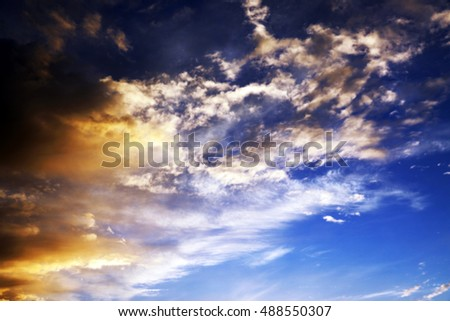 photographed the sky with clouds, Defocus