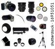 Photographic equipment set. 16 elements isolated on white. - stock photo
