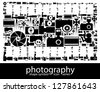 Photography icon symbols composed in the shape of a photography film - stock vector