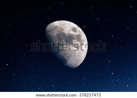 Photography of nightly sky with large moon and stars