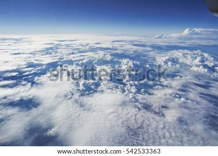 Photos from the clouds in the sky,View from window plane.
