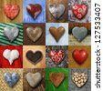 Photos of heart-shaped things made of stone, metal and wood on different backgrounds. - stock photo