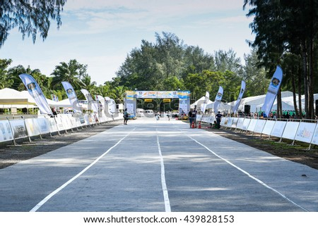 PHUKET, THAILAND - MAY 04: View of the start line before the Kids' Run at the Laguna Phuket International marathon at Laguna on May 04, 2016 in Phuket, Thailand.